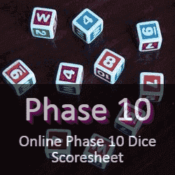 Online Phase 10 Dice Score Sheet, Phase 10 Dice Score Card